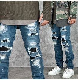 Distressed Pintuck Accent Vingtage Blue Denim Jeans 229