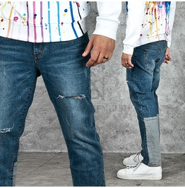 Patchwork Contrast Back Calf Accent Ripped Denim Jeans 230