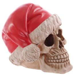 Egg N Chips London Funky Skull Decorative Wearing Santa Hat