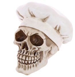 Egg N Chips London Gothic Skull Decoration Wearing Chefs Hat