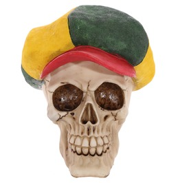 Egg N Chips London Gothic Skull Decoration Wearing Rasta Hat