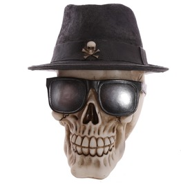 Egg N Chips London Gothic Skull Decoration Wearing Trilby Hat