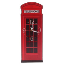 Egg N Chips London Fun Red Telephone Box Shaped Decorative Wall Clock