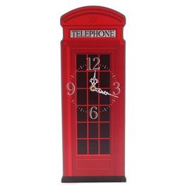 Egg N Chips London Fun Red Telephone Box Shaped Decorative Wall Clock