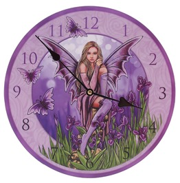 Egg N Chips London Decorative Flower Fairy Purple Iris Wall Clock