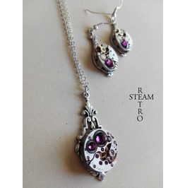 Steampunk Jewelry Set In Amethyst Steampunk Wedding Set Christmas Gift