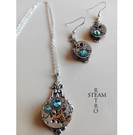Steampunk Jewelry Set In Aquamarine Steampunk Wedding Set Christmas Gift
