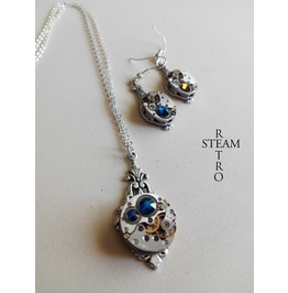 Steampunk Jewelry Set In Blue Steampunk Wedding Set Christmas Gift