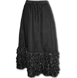 Gothic Elegance Skirt Long Satin Frills Black