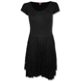 Gothic Elegance Lace Layered Skater Dress Black Goth