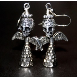 Angel Of Death Iii Silver Winged Sugar Skull Earrings