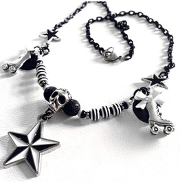 Derby Love Black And White Sugar Skull Nautical Star Roller Skates Necklace