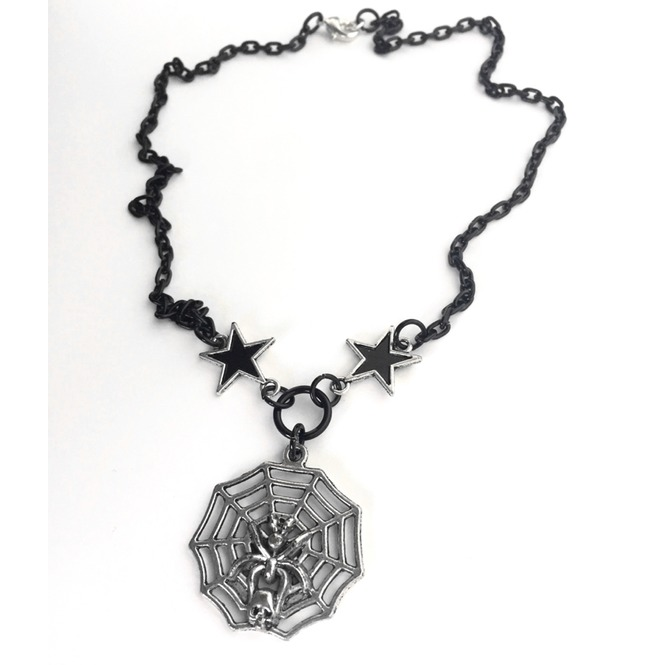 rebelsmarket_creepy_silver_skull_spider_web_black_stars_chain_layering_gothic_necklace_necklaces_3.jpg