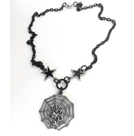 Creepy Silver Skull Spider Web Black Stars Chain Layering Gothic Necklace