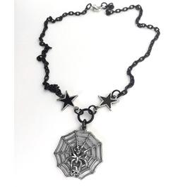 Creepy Silver Skull Spider Web Black Stars Chain Layering Gothic Necklace