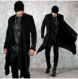 Unbalanced Drape Shawl Black Long Coat 104