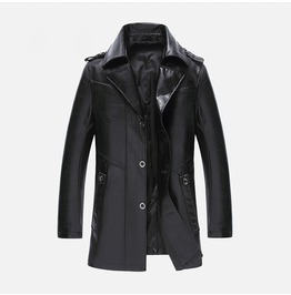 Men's Stand Collar Buttons Faux Leather Coat