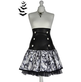 Creepy Gothic Spooky Vampire Skulls & Faux Leather Goth Corset Skirt