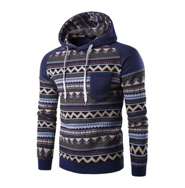 Men's Geometric Patterns Printed Contrast Autumn Hoodies