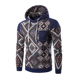 Men's Retro Geometric Printed Hoodies