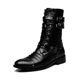 Mens punk rivets lace up pointed boots mens boots