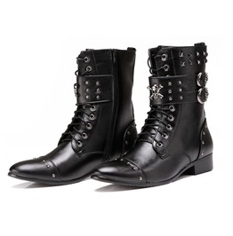 Men's Skull Rivets Faux Leather Pointed Boots
