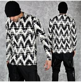 Brushed Zigzag Pattern Long Sleeved T Shirts 591