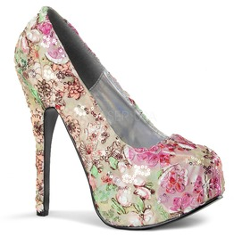 Bordello Teeze06 Pink Multi Floral Fabric Platform Pump