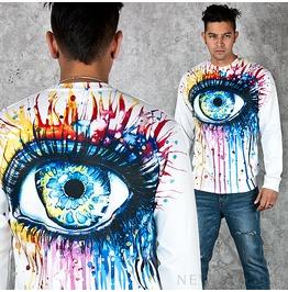 Cool Odd Eye Printed Round T Shirts 588