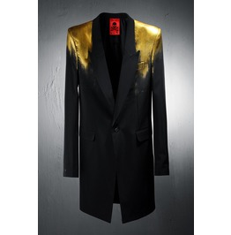 Custom Shoulder Gold Painting Long Blazer