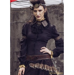 Black Vintage Steampunk Shirt With Detachable Bowtie For Women