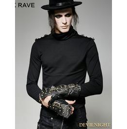 Black Gothic Military Uniform Gauntlet Glove