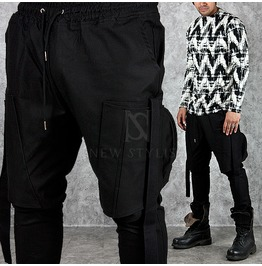 Big Zipper Cargo Pocket Accent Black Baggy Sweatpants 195