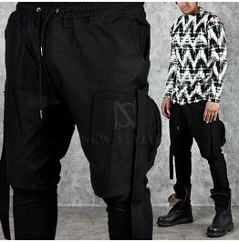 Big Zipper Cargo Pocket Accent Black Baggy Sweatpants 195