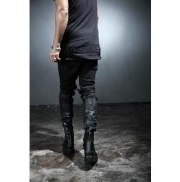 Custom Under Black Painting Knife Destroyed Jeans