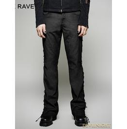 Black Steampunk Ultra Wide Leg Trousers For Men
