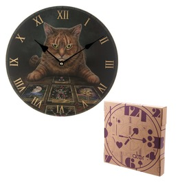 Egg N Chips London Decorative Fantasy Cat And Tarot Cards Wall Clock