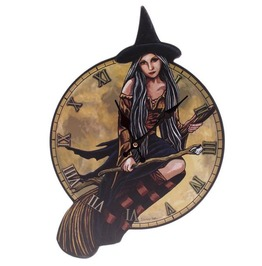 Egg N Chips London Fantasy Witch On Broomstick Shaped Wall Clock
