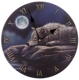 Egg N Chips London Fantasy Quiet Night Of The Wolf Decorative Wall Clock
