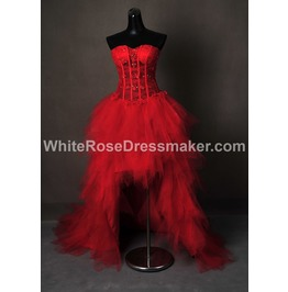 Gothic Wedding Dress Red Short Gown Made To Measure Handmade Free Delivery