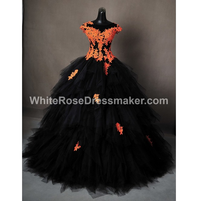 Gothic wedding dress halloween orange gown made to measure for Black and orange wedding dresses