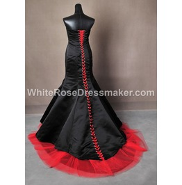 Gothic Wedding Dress Black And Red Gown Made To Measure Handmade Uk