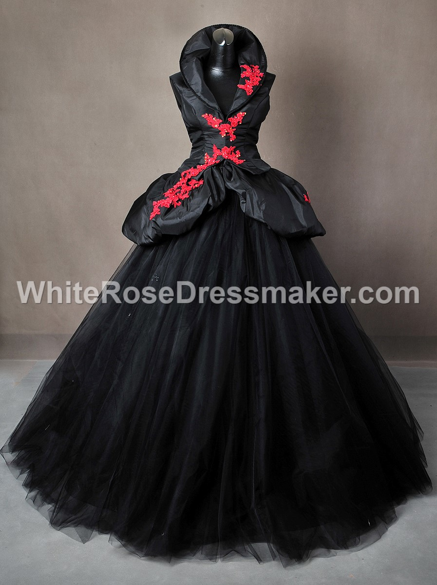 Gothic Wedding Dress Black And Red Tudor Gown Made To Measure Handmade