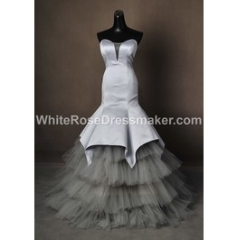 Gothic Wedding Dress Grey Silver Gown Made To Measure Handmade Uk