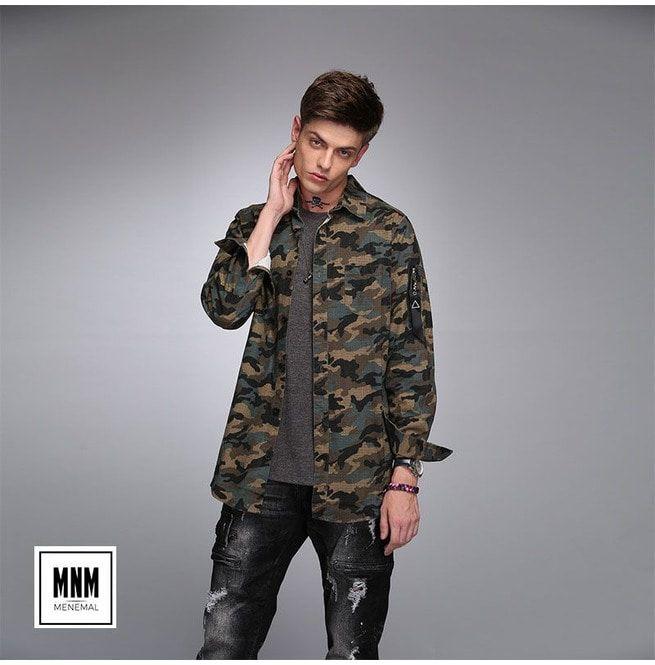 Mens Cotton Woodland Camouflage Button Down Jacket Rebelsmarket