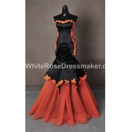 Gothic Wedding Dress Orange Fantasy Gown Made To Measure Handmade Uk
