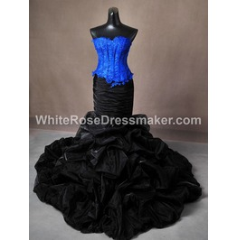 Gothic Wedding Dress Black Blue Fantasy Gown Made To Measure Handmade Uk