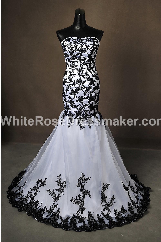 Gothic Wedding Dress Black White Fantasy Gown Made To