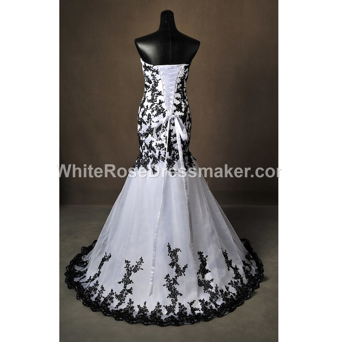 Gothic Wedding Dress Black White Fantasy Gown Made To Measure Handmade Uk