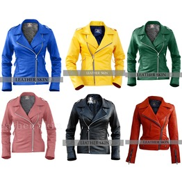 Ladies Biker Leather Motorcycle Jacket Classic Punk Coat Sizes Up To 4 Xl